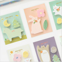 DIY Cute Kawaii Animal Memo pad Mini Lovely Cartoon Cat Bear Post It Note for Kids Korean Stationery Free shipping 267