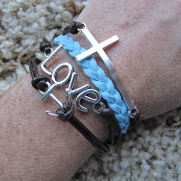 Made in the USA -Cross Love Anchor Brown & Blue Friendship Charm Bracelet