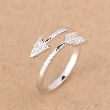 Real 925 Sterling Silver White jewelry CZ Paved Love Arrow Design Midi Toe ring Finger Ring adjustable Women Men GTLJ675