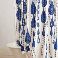 Jardin Des Plantes Shower Curtain by Ruan Hoffmann Blue Motif One Size Bedding