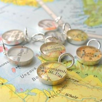 Customizable Handmade Sterling Petite Map Charm