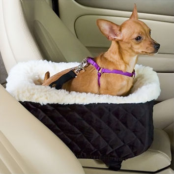 Snoozer Pet Dog Cat Puppy Outdoor Console Lookout Car UV Secure Safety Travel Seat Small Khaki Quilt