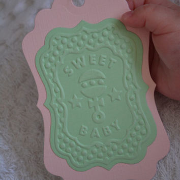 Embossed gift tags text Sweet Baby, set of 6 made from white thin card stock and textured card stock --- Baby shower or on a baby present