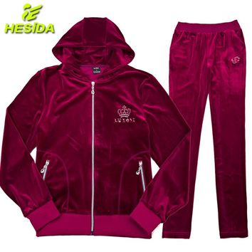 Sport Suit Women Sportswear For Women's Sportwear Velour Tracksuit Sport Wear Hoodie Hooded Jacket Women Running Sports Set 2pcs