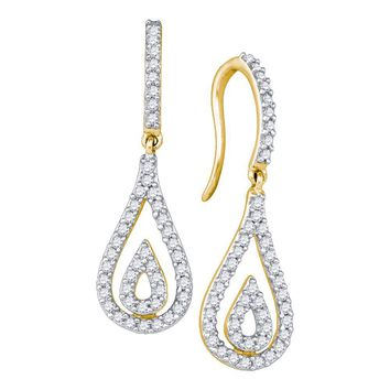 10kt Yellow Gold Womens Round Diamond Teardrop Dangle Earrings 1/2 Cttw