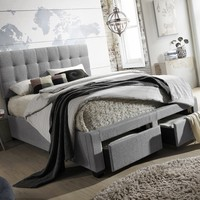 Andrea Modern and Contemporary Grey Fabric 2-drawer Storage Platform Bed