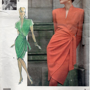 Vogue Attitudes Designer Sewing Pattern Top Linda Platt Classic Wrap Dress Sexy Drape Hip Low V Neck Tulip Skirt Bust 32