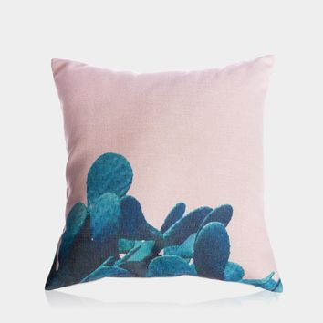 """Blue Cactus in Pink Pillow Cover 18"""" x 18"""""""