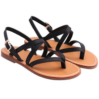 Black Buckle Strap Flat Sandals -SheIn(Sheinside)