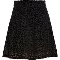 River Island Womens Black animal print devore skater skirt