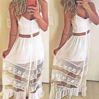 White Spaghetti Strap Mesh Maxi Dress