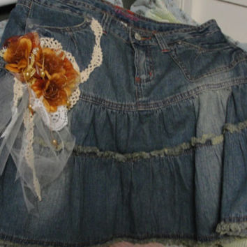 Gypsy boho hippie upcycled jean skirt flowers and lace