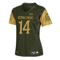 Women's Under Armour #14 Olive Green Notre Dame Fighting Irish 2016 Shamrock Series Replica Football Jersey