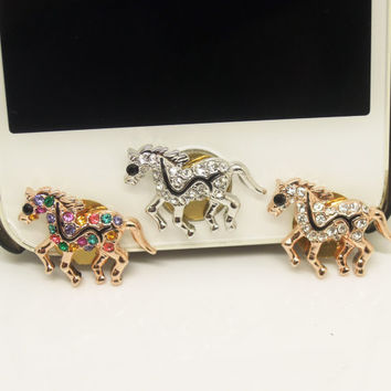 1PC Bling Crystal Horse iPhone Home Button Sticker Charm for iPhone 4,4s,4g,5,5c Cell Phone Charm Friend Gift