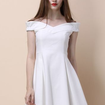 Dote on Simplicity Off-shoulder White Dress