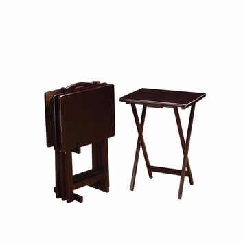 5 Piece Rectangular Wooden Tray Table Set, Brown By Coaster