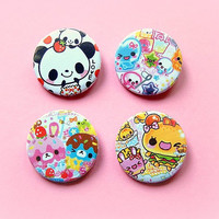 Kawaii button badge or magnet 1.5 Inch by PKPaperKitty on Etsy