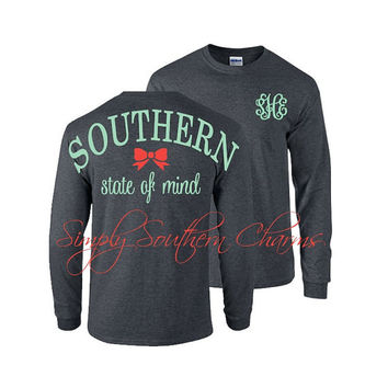 Long Sleeve Monogram Tshirt. (1) 'Southern State of Mind' TShirt. Southern Shirt. Spirit Jersey. Monogrammed Gift. Bridesmaid Gift.