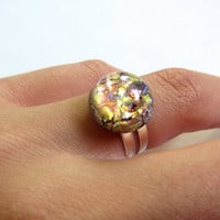 Circle Adjustable Stone Ring Gold Amethyst Foil and Blue Rainbow Opal Eye