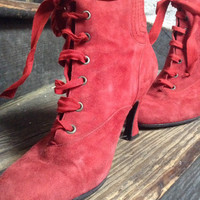 Peter Fox Red Victorian style suede boots