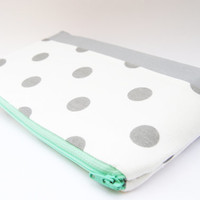 #gray #polkadot #pencil #case makeup bag cosmetic case