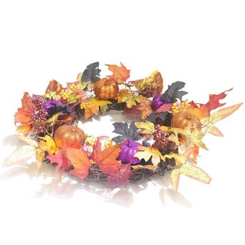 1PC Flower Wreath Pumpkins Creative Maple Leaf Artificial Decorative Wreath for Halloween Party Decorations Home