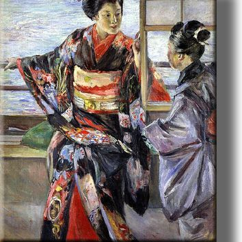 Japanese Women Painting Picture on Acrylic , Wall Art Décor, Ready to Hang!