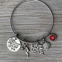 Personalized Volleyball Bracelet- Birthstone Charm