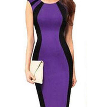 Fashion Sleeveless Stitching Color Business Midi Bodycon Pencil Dress