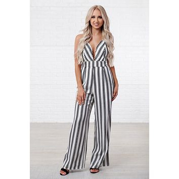 Sweet Escape Striped Jumpsuit (White)