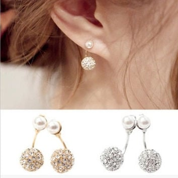 1 Pair Pearl Rhinestone Earrings Double Ball After Hanging Fashion Women Crystal  Immitation Pearl Earrings Ear Studs = 5617882241