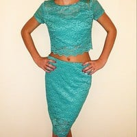 Blue/ turquoise two piece dress// shirt and skirt