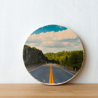 Road Trip - Circle Mini Photo Transfer on Wood by Patrick Lajoie Fine Art Photography
