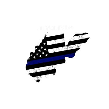 West Virginia Island Distressed Subdued US Flag Thin Blue Line/Thin Red Line/Thin Green Line Sticker. Support Police/Firefighters/Military