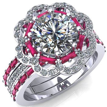 Camelia Round Moissanite Accent Diamond and Ruby Halo Ring