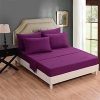 Honeymoon 1500T Solid Brushed Microfiber 4PC bed sheet set, Sheet & Pillowcase Sets - Queen, Purple