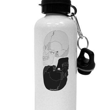 White And Black Inverted Skulls Aluminum 600ml Water Bottle by TooLoud
