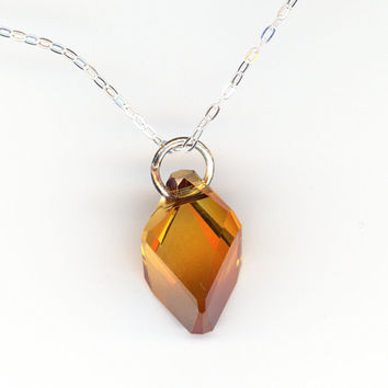 Crystal Pendant Copper Color, Sterling Silver Chain Necklace