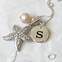 Starfish Necklace,925 sterling silver chain,personalized Initial,pearl,letter,monogram,custom, A B C D E F G H I J K L M N O P R S T V W Z