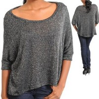 Amazon.com: G2 Fashion Square Boat Necklined Black Silver Shimmer Top(TOP-CAS,BLK-S): Clothing
