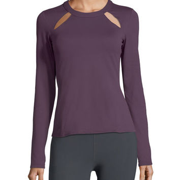 Alo Yoga Mantra Long-Sleeve Fitted Performance Top w/ Cutouts