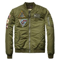 Retro Army Green Bomber Jacket by Scotch and Soda