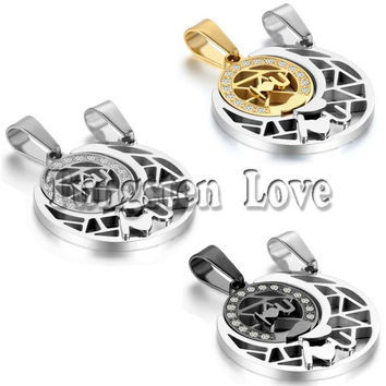 2pcs/pair Fashion Couple Stainless Steel Sun Moon Matching Puzzle Pendant Lover Necklaces for Valentine Gift 3 Colors selectable