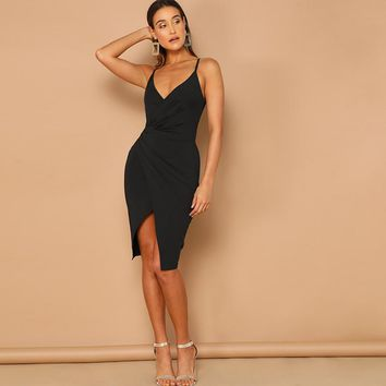 Sexy Overlap Split Front Backless Bodycon Midi Cami Dress Women Straps V Neck Wrap Sheath Club Slim Dresses