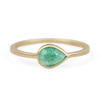Pear Ring with Emerald - Wedding & Engagement - Catbird