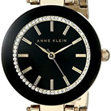 Anne Klein Women's AK/1906BKGB Swarovski Crystal-Accented Watch with Gold-Tone Mesh Bracelet