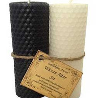 """4 1-4"""" Wiccan Altar Set Black & White Lailokens Awen Candle"""