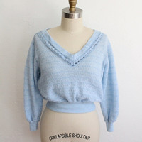 Vintage 70s Baby Blue Super Soft Shrunken Sweater // Women's Small Cozy Shirt