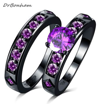 DrBonham bling large purple Cubic Zircon couple Rings Set black Gold filled CZ Wedding alliance For Women  men DR1746
