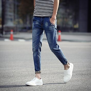 New Summer 2016 Mens Jeans Pant Thin Skinny Denim Ankle-Length Pants For Boys Rivet Design Hipster Korean Slim Fit Jeans Men